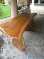 Beautifully hand-carved, 1-pce saman wood slab top, dining table - a